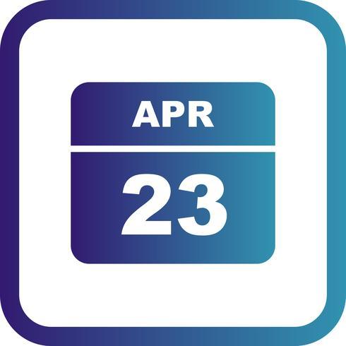 23 de abril Data em um calendário de dia único
