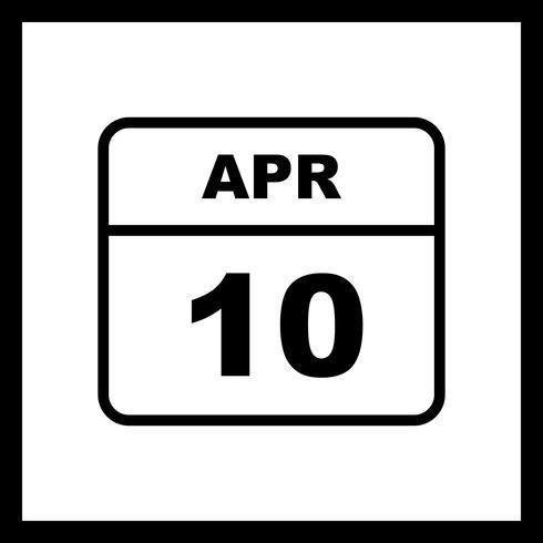 10 april Datum på en enkel dagskalender