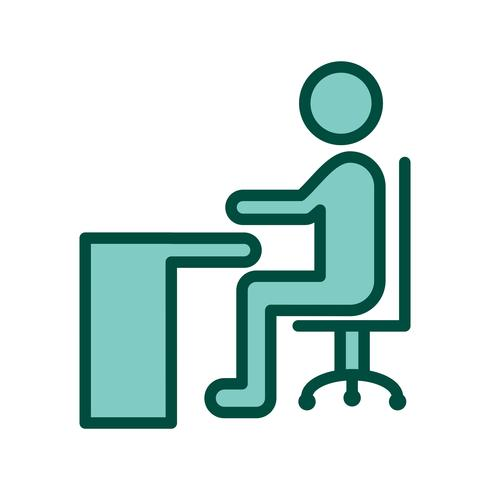 Sitting on Desk Icon Design
