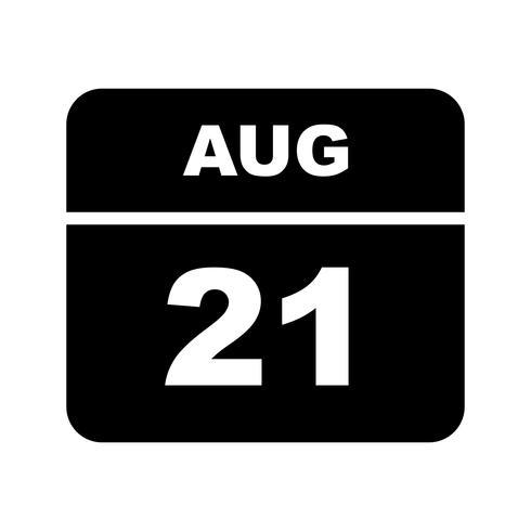 August 21st Date on a Single Day Calendar