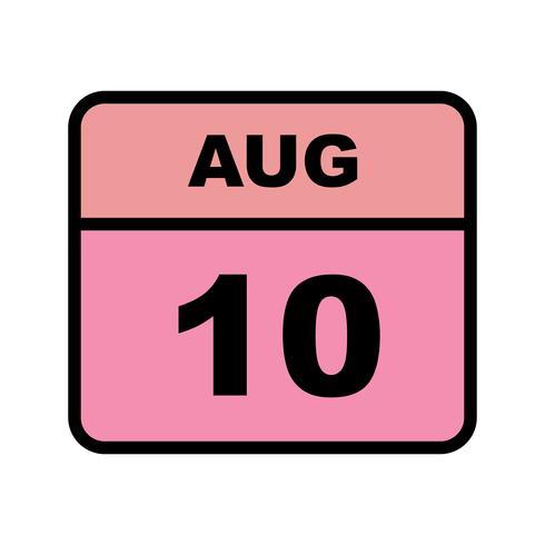 10 agosto Data su un calendario per un solo giorno