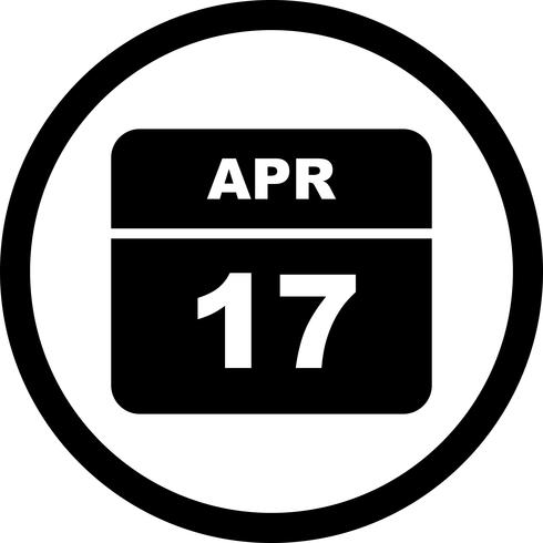 April 17th Date on a Single Day Calendar vector