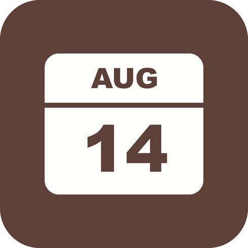 14 agosto Data su un calendario per un solo giorno