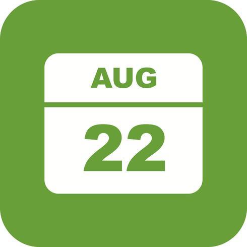 22 de agosto Data em um calendário único dia