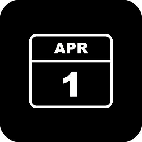 April 1st Date on a Single Day Calendar vector