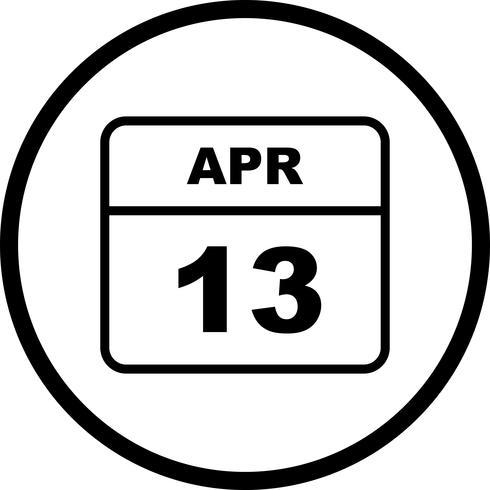 13 de abril Fecha en un calendario de un solo día vector