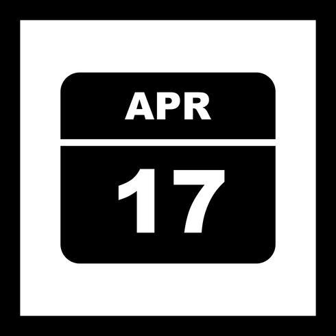 17 de abril Fecha en un calendario de un solo día vector