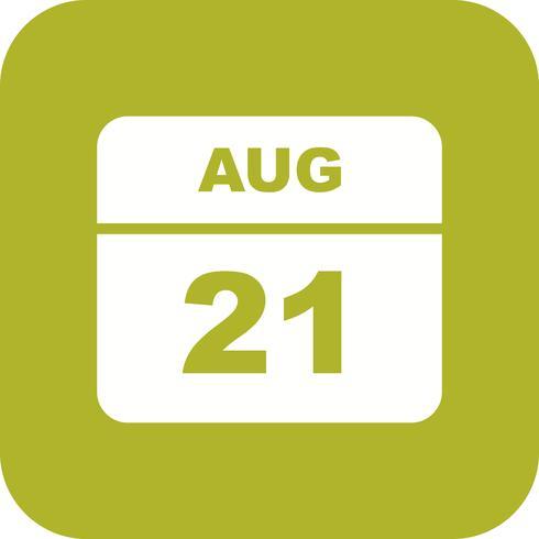 Fecha del 21 de agosto en un calendario de un solo día vector