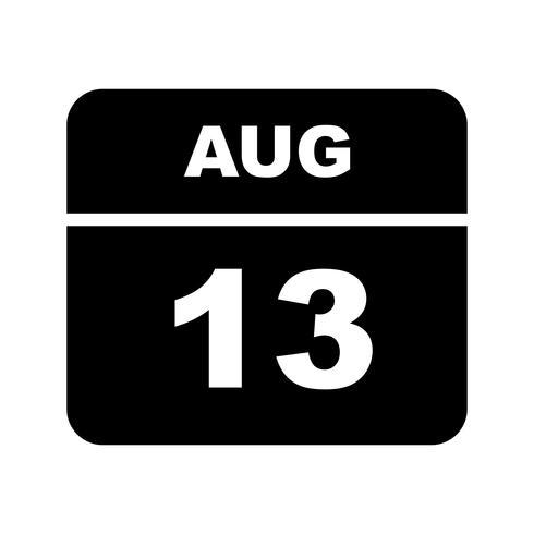 13 augustus Datum op een eendaagse kalender