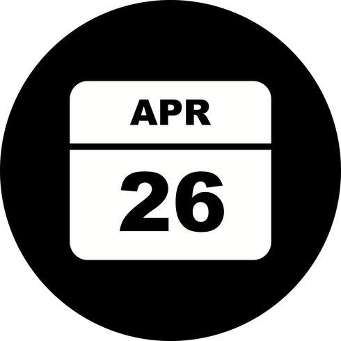 26 de abril Fecha en un calendario de un solo día vector