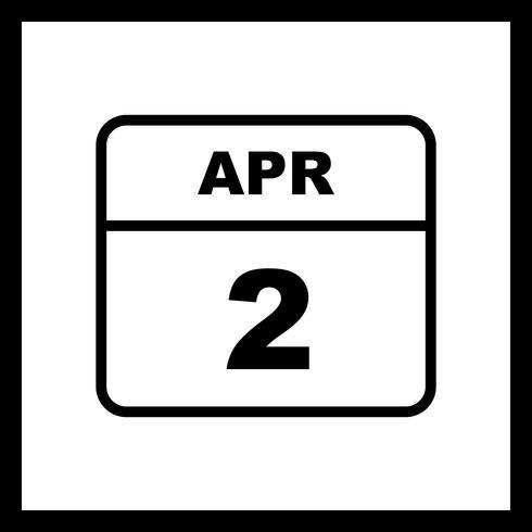 2 avril Date sur un calendrier d'une journée