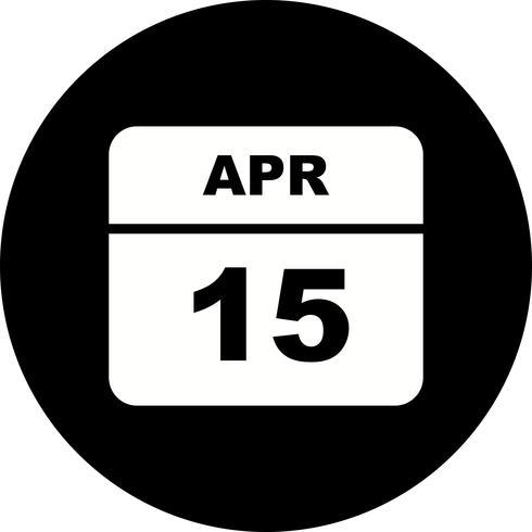 15 avril Date sur un calendrier d'un jour