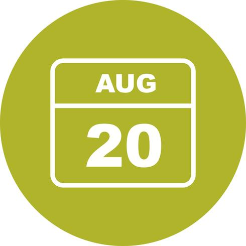 August 20th Date on a Single Day Calendar