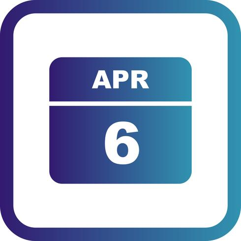 April 6th Date on a Single Day Calendar vector