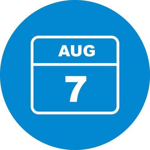 August 7th Date on a Single Day Calendar