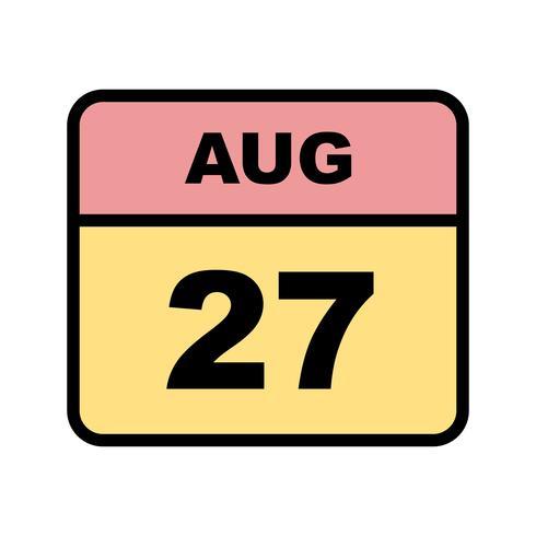 27 de agosto Data em um calendário único dia