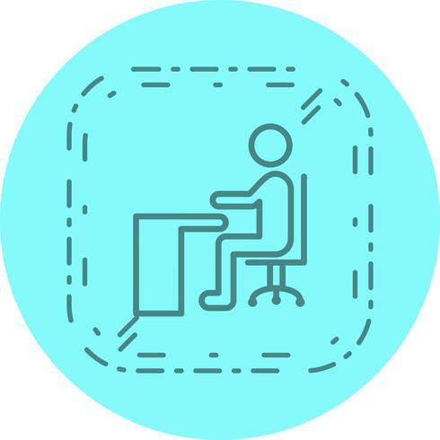 Sentado en el escritorio icono de diseño vector
