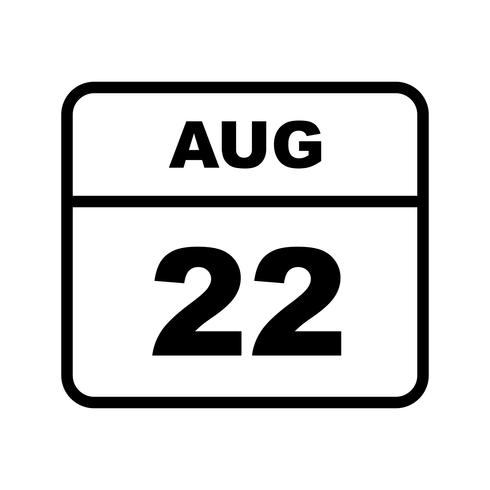August 22nd Date on a Single Day Calendar vector