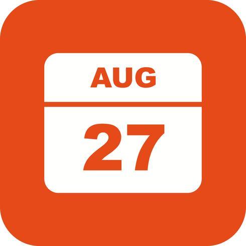 Fecha del 27 de agosto en un calendario de un solo día