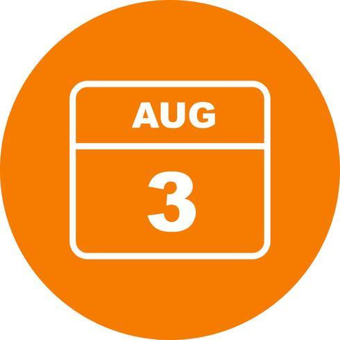 August 3rd Date on a Single Day Calendar vector