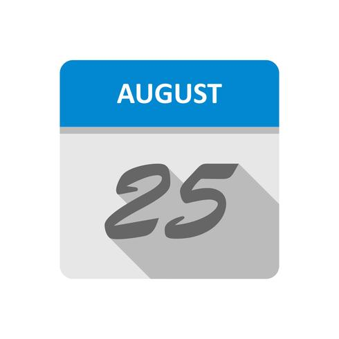 25. August Datum an einem Tageskalender