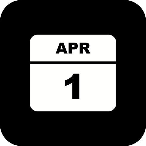 1 de abril Fecha en un calendario de un solo día vector
