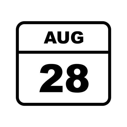Fecha del 28 de agosto en un calendario de un solo día vector