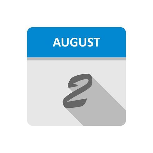 2 de agosto Fecha en un calendario de un solo día