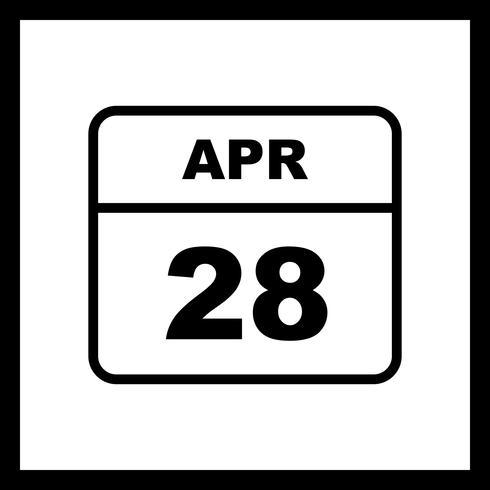 28 de abril Fecha en un calendario de un solo día