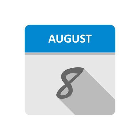 8 de agosto, fecha en un calendario de un solo día vector