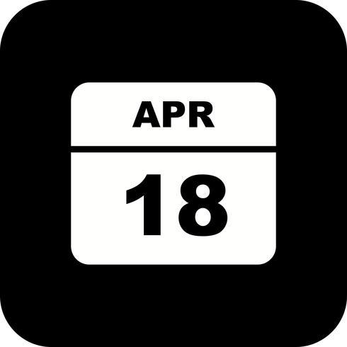 Calendrier du 18 avril avec un seul jour