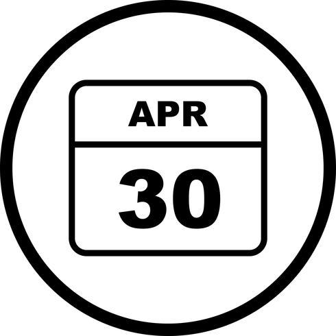 30 de abril Fecha en un calendario de un solo día vector