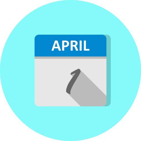 1 ° aprile Data in un giorno unico calendario