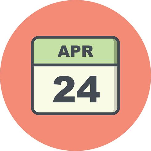 24 de abril Fecha en un calendario de un solo día