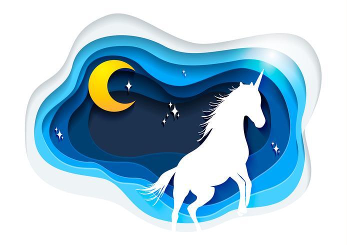 Extracto del unicornio, del concepto de papel del unicornio del arte, del arte del vector del unicornio y del ejemplo.