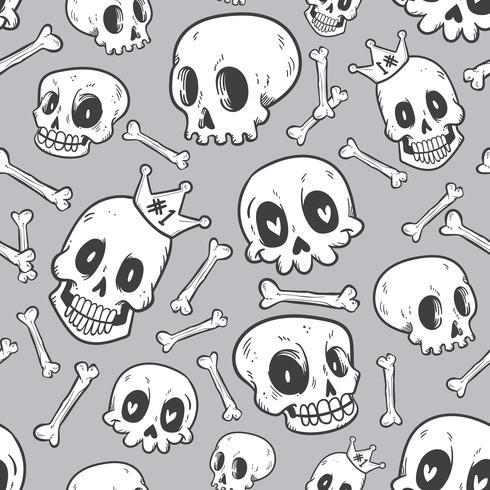 colección de cráneo lindo doodle de patrones sin fisuras