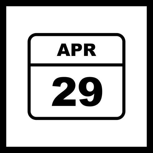 Fecha del 29 de abril en un calendario de un solo día