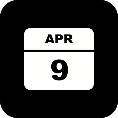 9 de abril Fecha en un calendario de un solo día