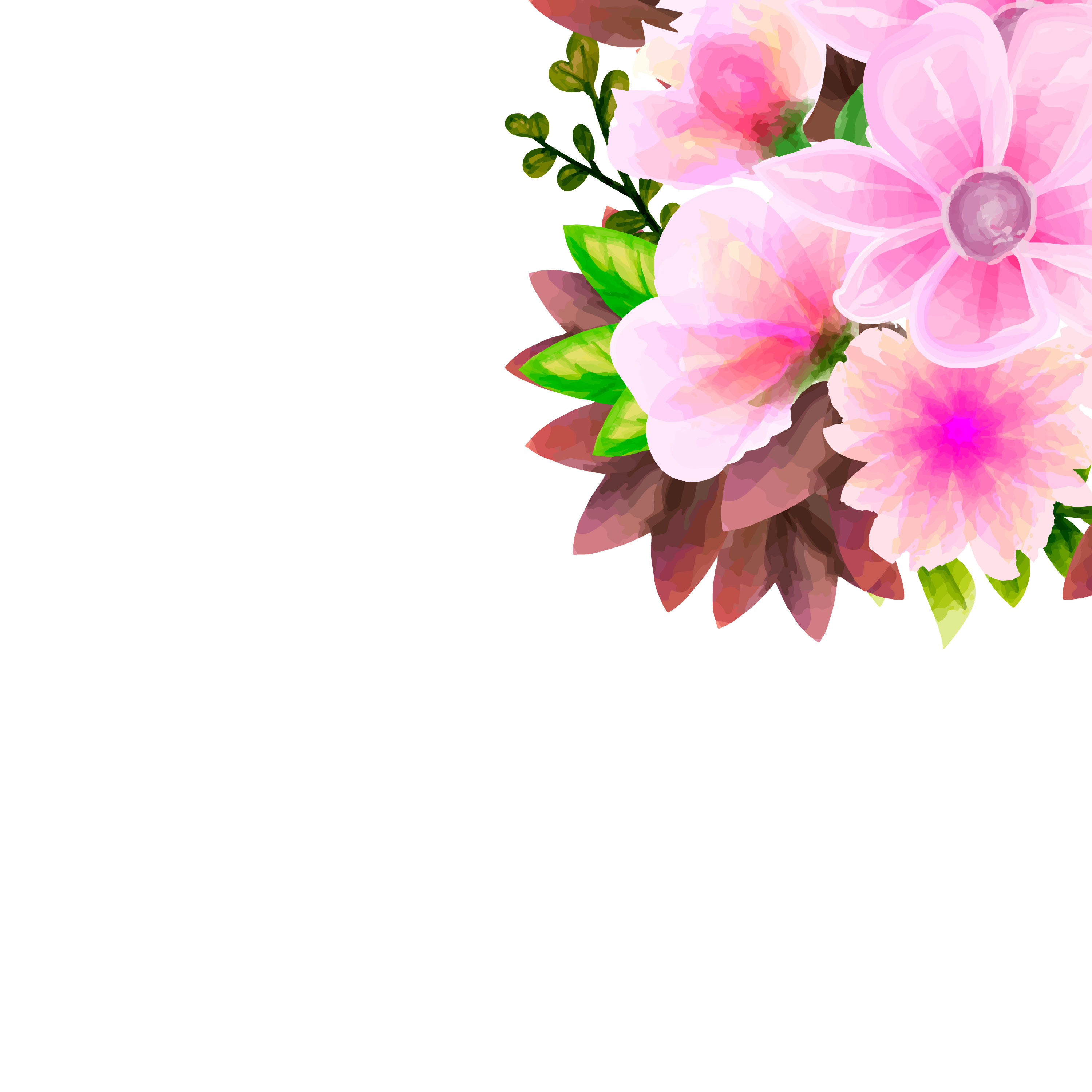 Floral And Botanical Logos Collection: Bouquet Watercolor, Flower Vector Floral Set. Colorful