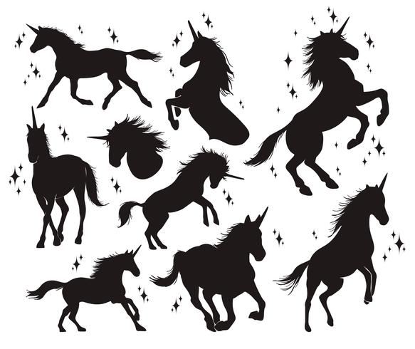 Magic enhörning siluett, Snygga ikoner, vintage, bakgrund, häst tatuering. vektor