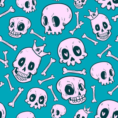 seamless pattern cute doodle skull collection vector