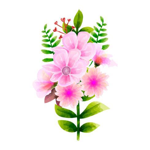 Acuarela del ramo, conjunto floral del vector de la flor. Colorida colección floral con hojas y flores, dibujo acuarela.