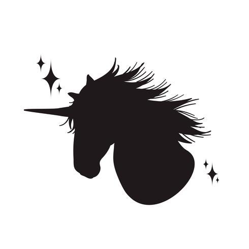 Magisch eenhoornsilhouet, Modieuze pictogrammen, wijnoogst, achtergrond, paardentatoegering. vector