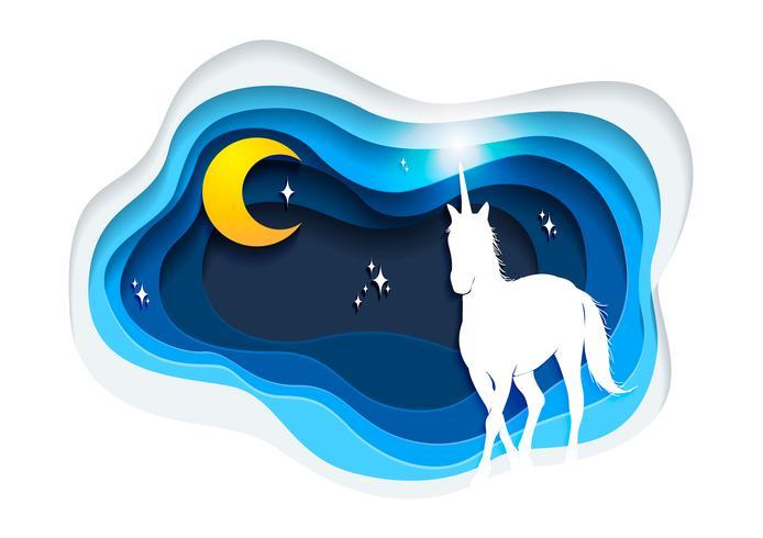 Abstract of unicorn, paper art unicorn concept, Unicorn vector art and illustration.