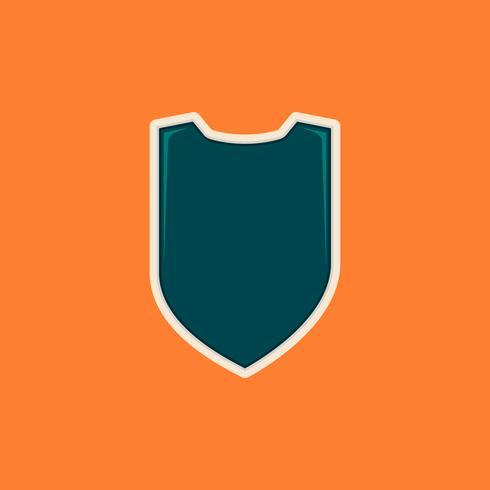 Modèle d'insigne de forme de bouclier vierge pour le logo ou tout autre but en couleur tosca