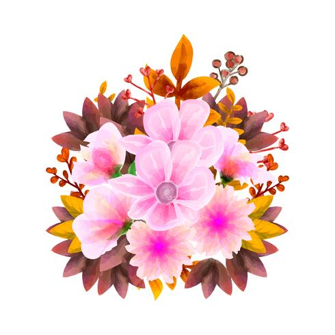 Bouquet watercolor, Flower Vector floral set. Colorful floral collection with leaves and flowers, drawing watercolor.