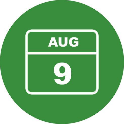 9 agosto Data su un calendario per un solo giorno