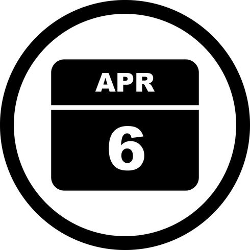 6 aprile Data su un calendario per un solo giorno