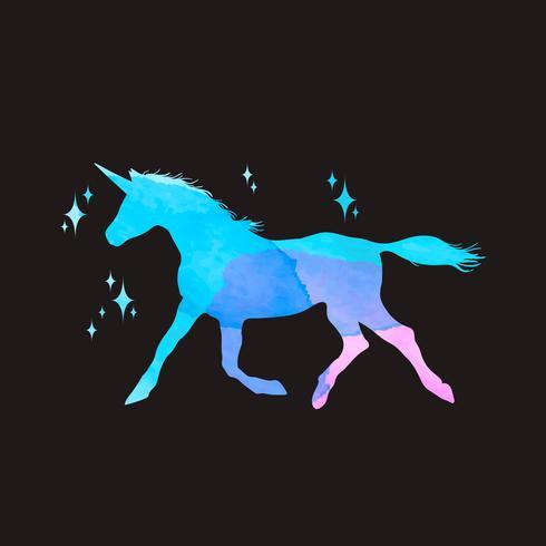 Insieme dell'illustrazione di mitologia della siluetta dell'unicorno, unicorno con l'acquerello