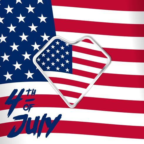 4 luglio illustrazione del giorno dell'indipendenza sulla bandiera americana bandiera bianca rossa e bandiera del focolare per le immagini dei social media
